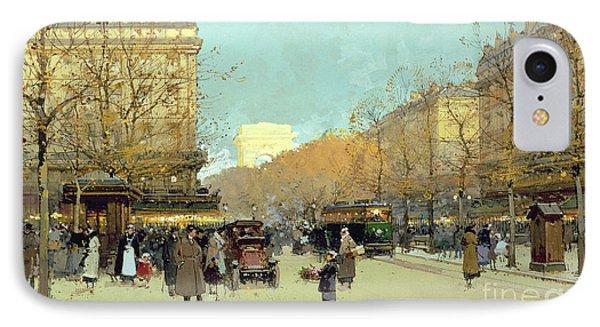 Boulevard Haussmann In Paris Phone Case by Eugene Galien-Laloue