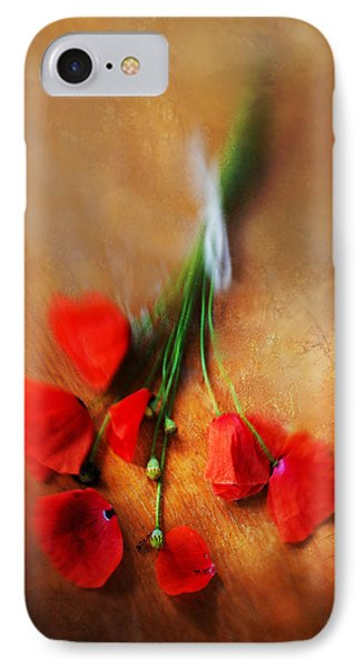 Bouquet Of Red Poppies And White Ribbon IPhone Case by Jaroslaw Blaminsky