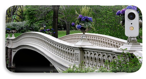 Bow Bridge Flower Pots - Central Park N Y C IPhone Case by Christiane Schulze Art And Photography