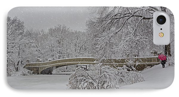 Bow Bridge In Central Park During Snowstorm IPhone Case by Susan Candelario