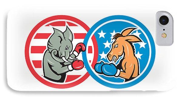Boxing Democrat Donkey Versus Republican Elephant Mascot Phone Case by Aloysius Patrimonio
