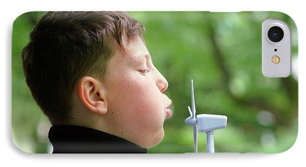 Boy Blowing Miniature Wind Turbine IPhone Case by Gombert, Sigrid