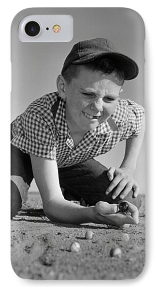 Boy Shooting Marbles, C.1950-60s IPhone Case by B. Taylor/ClassicStock
