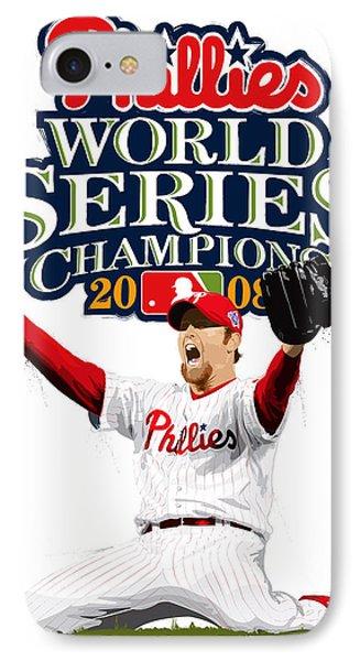 Brad Lidge Ws Champs Logo IPhone Case by Scott Weigner