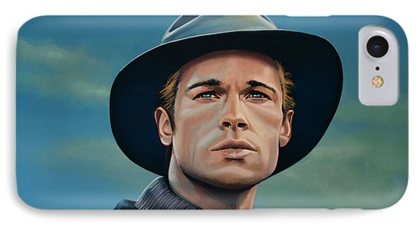 Brad Pitt Painting IPhone Case by Paul Meijering