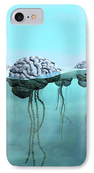 Brains As Jellyfish IPhone Case by Russell Kightley