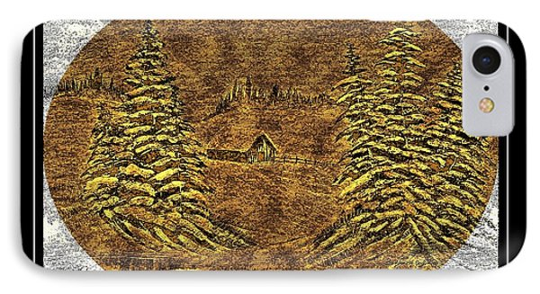 Brass-type Etching - Oval - Cabin Between The Trees IPhone Case by Barbara Griffin