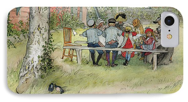 Breakfast Under The Big Birch IPhone Case by Carl Larsson