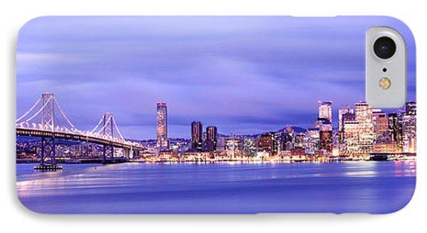 Bridge Lit Up At Dusk, Bay Bridge, San IPhone Case by Panoramic Images
