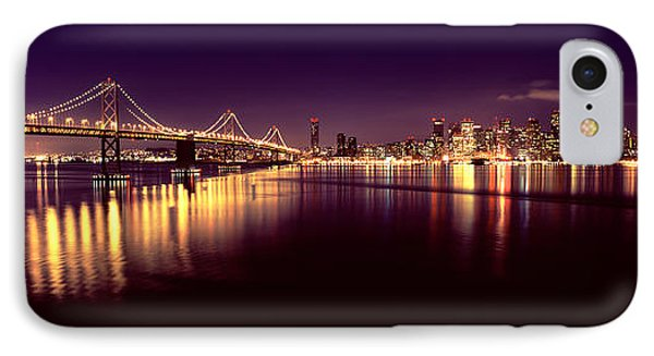 Bridge Lit Up At Night, Bay Bridge, San IPhone Case by Panoramic Images