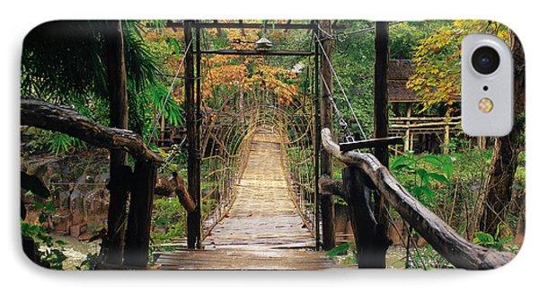 Bridge Over Waterfall IPhone Case by Nawarat Namphon
