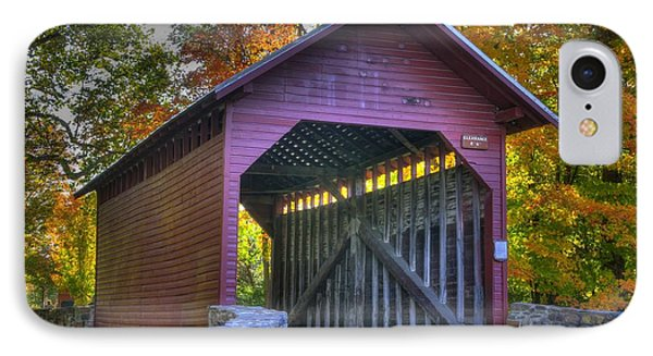 Bridge To The Past Roddy Road Covered Bridge-a1 Autumn Frederick County Maryland Phone Case by Michael Mazaika