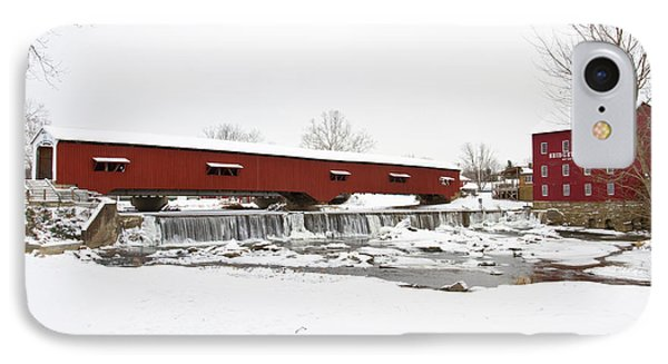 Bridgeton Covered Bridge In Winter IPhone Case by Panoramic Images