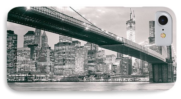 Brooklyn Bridge And New York City Skyline At Night IPhone Case by Vivienne Gucwa