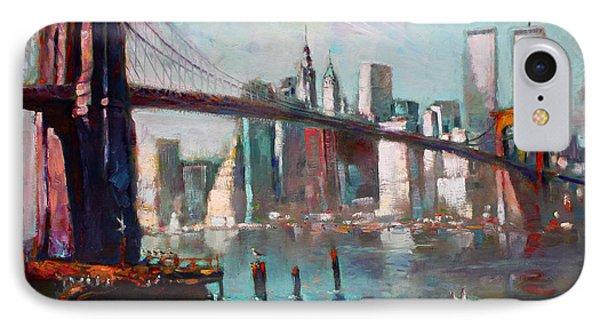 Brooklyn Bridge And Twin Towers IPhone Case by Ylli Haruni