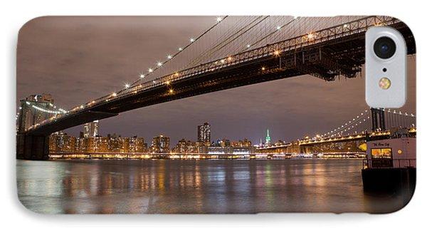 Brooklyn Bridge Lights IPhone Case by Leslie Leda