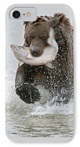 Brown Bear With Salmon Catch IPhone Case by Gary Langley