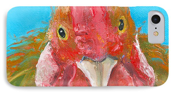 Brown Rooster On Blue IPhone Case by Jan Matson