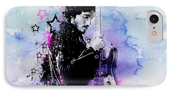 Bruce Springsteen Splats And Guitar 2 IPhone 7 Case by Bekim Art