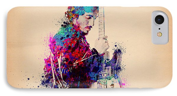 Bruce Springsteen Splats And Guitar IPhone 7 Case by Bekim Art
