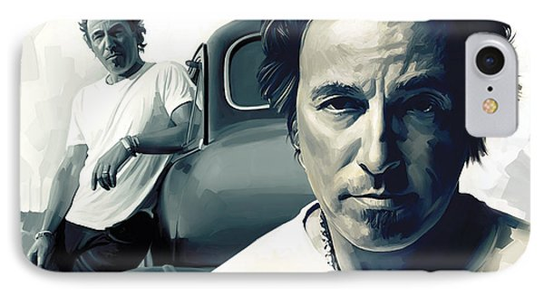 Bruce Springsteen The Boss Artwork 1 IPhone Case by Sheraz A