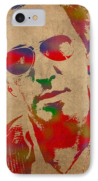 Bruce Springsteen Watercolor Portrait On Worn Distressed Canvas IPhone 7 Case by Design Turnpike
