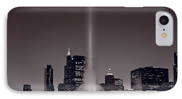 Buckingham Fountain Nightlight Chicago Bw IPhone Case by Steve Gadomski