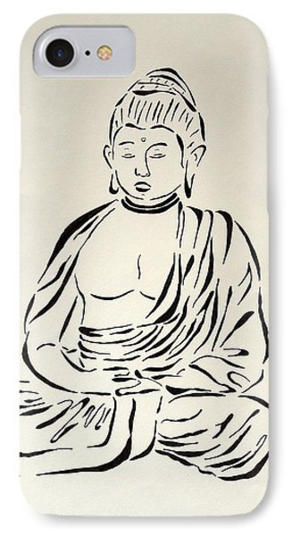 Buddha In Black And White Phone Case by Pamela Allegretto