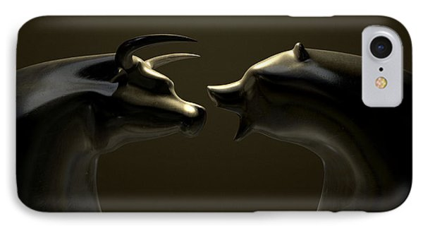 Bull And Bear Market Trend Bronze Castings IPhone Case by Allan Swart