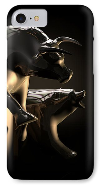 Bull And Bear Stock Market Statues IPhone Case by Allan Swart
