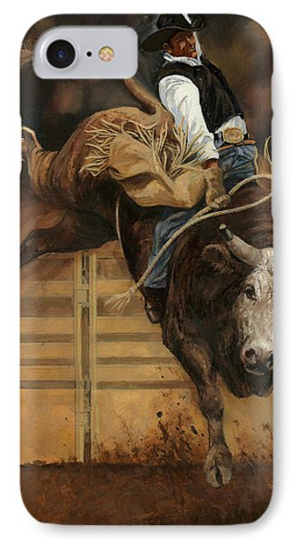 Bull Riding 1 IPhone Case by Don  Langeneckert