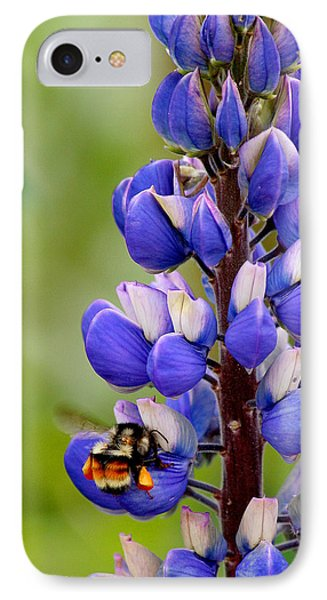 Bumble Bee And Lupine Phone Case by Art Block Collections