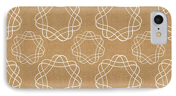 Burlap And White Geometric Flowers IPhone 7 Case by Linda Woods