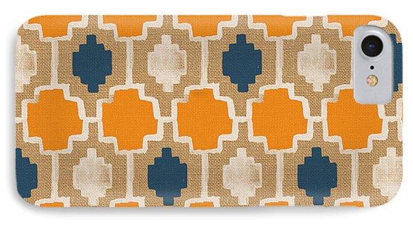 Burlap Blue And Orange Design IPhone 7 Case by Linda Woods
