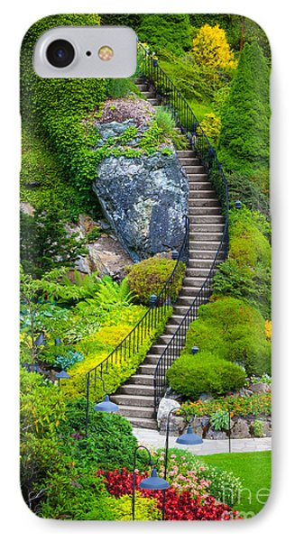 Butchart Gardens Stairs IPhone Case by Inge Johnsson