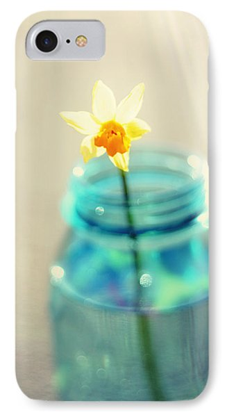 Buttercup Photography - Flower In A Mason Jar - Daffodil Photography - Aqua Blue Yellow Wall Art  Phone Case by Amy Tyler