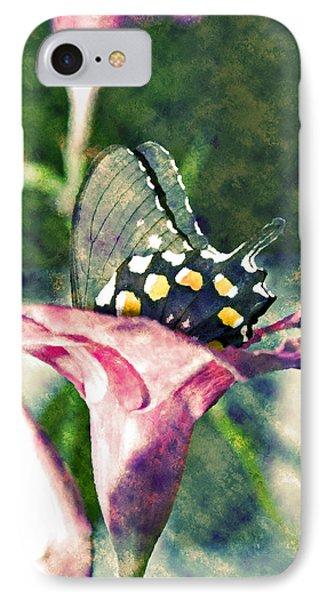 Butterfly In Flower Phone Case by Susan Leggett