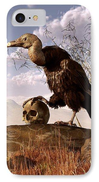 Buzzard With A Skull IPhone 7 Case by Daniel Eskridge