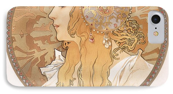 Byzantine Head Of A Blond Maiden IPhone Case by Alphonse Marie Mucha