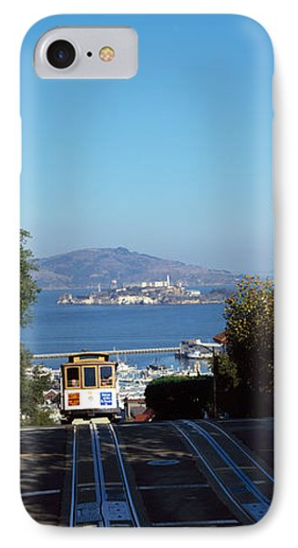 Cable Car On Tracks, Alcatraz Island IPhone Case by Panoramic Images