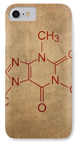 Caffeine Molecule Coffee Fanatic Humor Art Poster IPhone Case by Design Turnpike