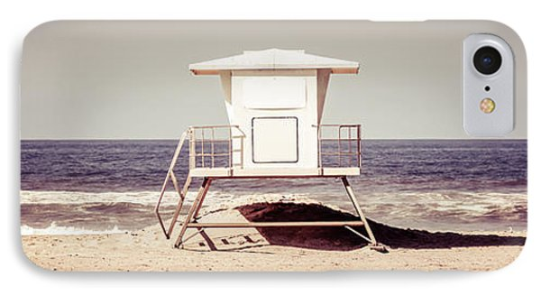 California Lifeguard Tower Retro Panoramic Picture IPhone Case by Paul Velgos