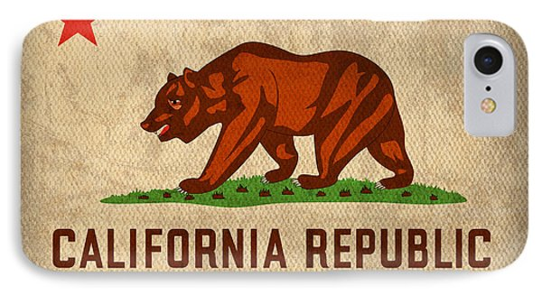 California State Flag Art On Worn Canvas IPhone Case by Design Turnpike