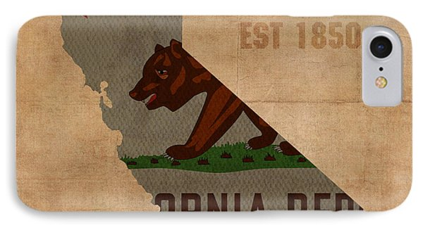 California State Flag Map Outline With Founding Date On Worn Parchment Background IPhone Case by Design Turnpike