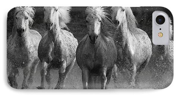 Camargue Horses Running IPhone Case by Carol Walker
