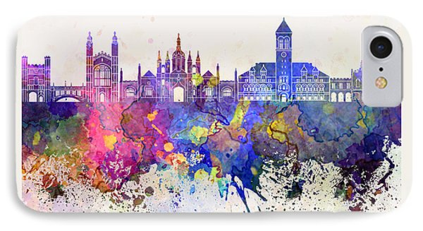 Cambridge Skyline In Watercolor Background IPhone Case by Pablo Romero