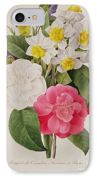 Camellias Narcissus And Pansies IPhone Case by Pierre Joseph Redoute