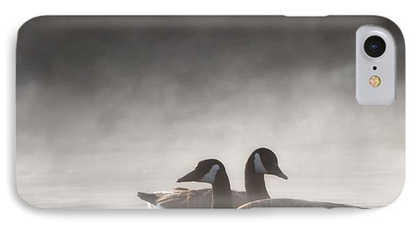 Canada Geese In The Fog Square IPhone Case by Bill Wakeley
