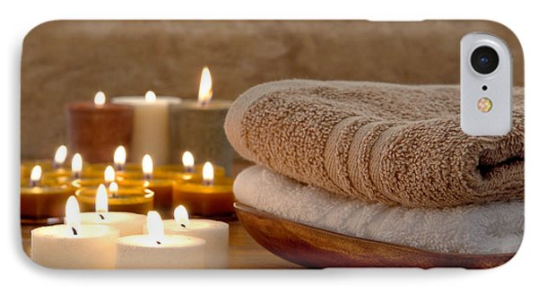 Candles And Towels In A Spa IPhone Case by Olivier Le Queinec