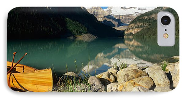 Canoe At The Lakeside, Lake Louise IPhone Case by Panoramic Images